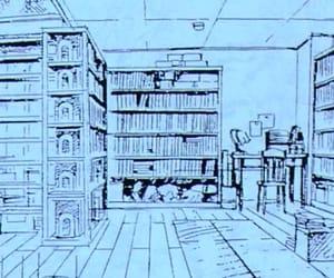 books, bookshelves, and cartoon image