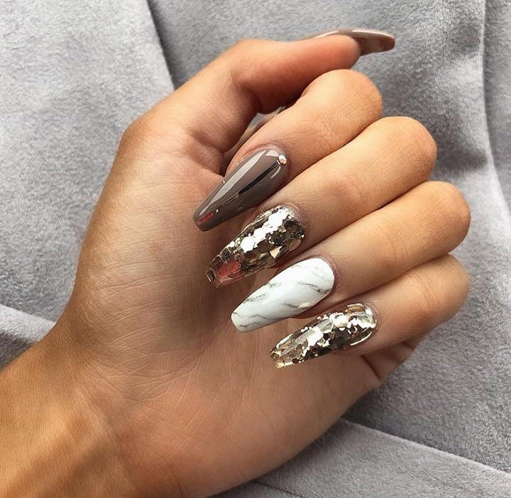 nails, gold, and inspiration image