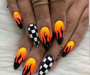 nails, fire, and nail art image