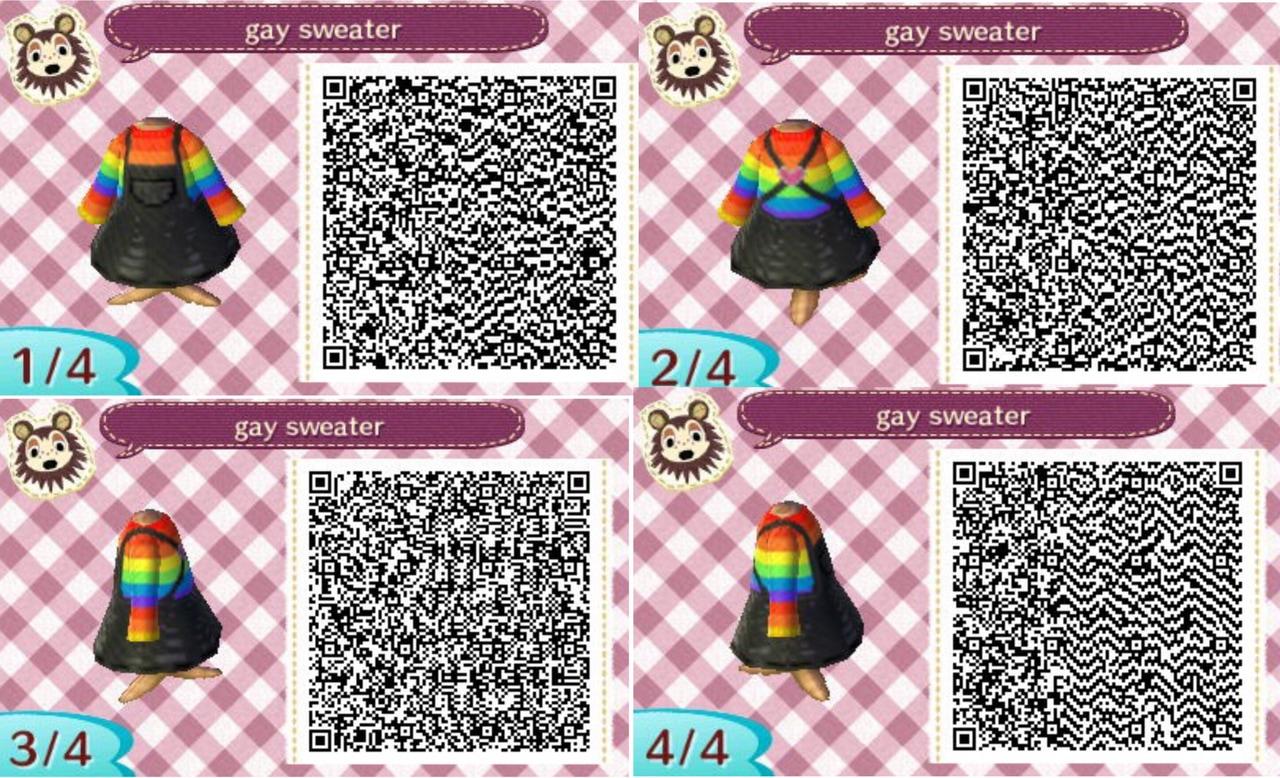 Gay Flag Animal Crossing New Leaf Qr Design Dress Sweater