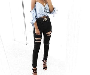 baby blue, black heels, and black jeans image