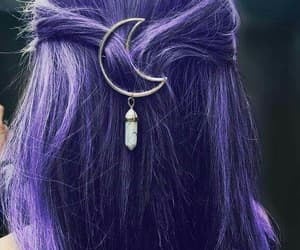 hair, moon, and purple image
