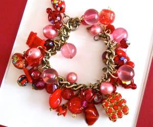 art glass, charm bracelet, and vintage bracelet image