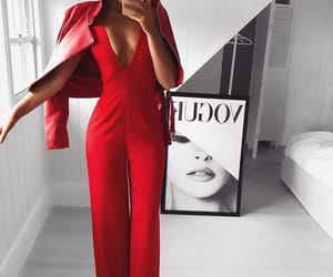 dressed up, jumpsuit, and red image