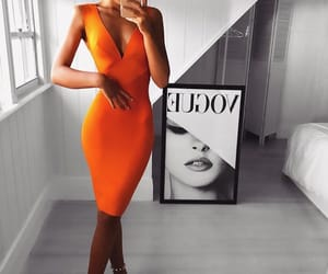 orange dress, night dress, and midi dress image