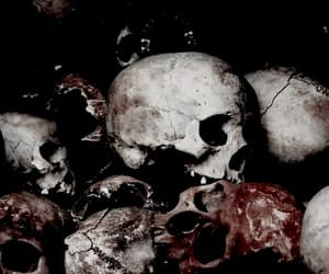 dark, skull, and red image