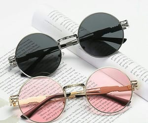 black, pink, and sunglasses image