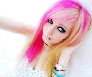 blond, piercing, and pink hair image