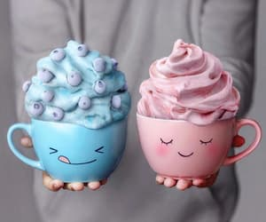 blue, pink, and food image