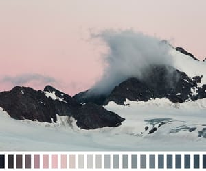 pink, mountains, and teal image
