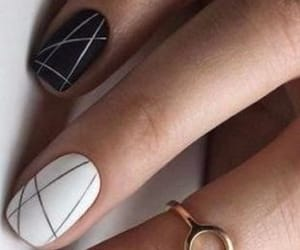 design, black and white, and nails image