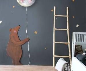 bedroom, bear, and moon image