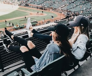 baseball, best friends, and girls image