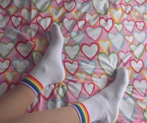 hearts, rainbow, and socks image