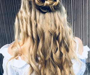 curly hair, fishtail braid, and hairtstyle image