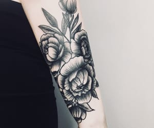 floral, floral tattoo, and tattoogirl image