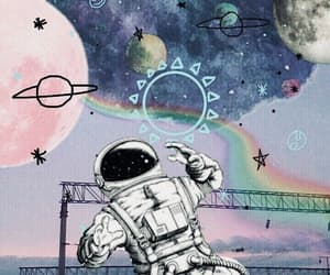 wallpaper, astronaut, and planets image