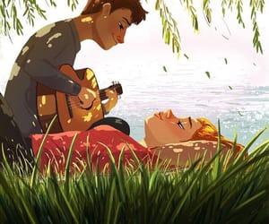 art, sun, and boy image