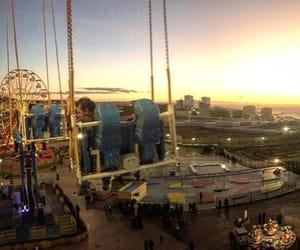 fun, sunset, and having image