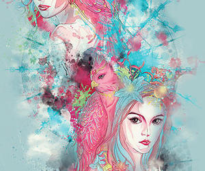 art, blue, and pink image