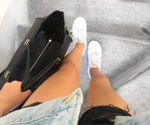 legs, denim jacket, and nike air image