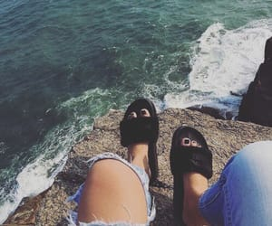black, jeans, and sea image