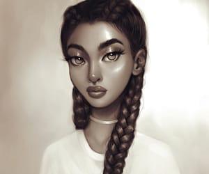 art, braids, and black and white image