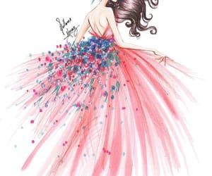 drawing, dress, and floral image
