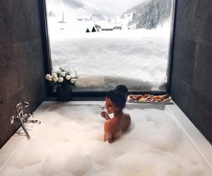 girl, bath, and winter image