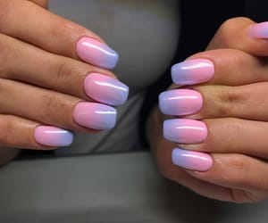 pinknails, ombre, and bluenails image