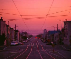 sunset and street image