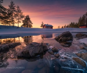 cabin, dawn, and dramatic sky image