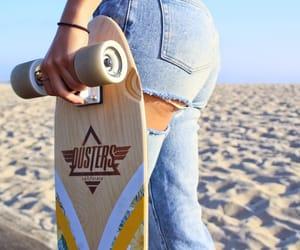 girl, longboard, and skater image