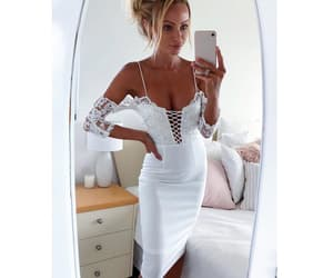 lace dress, party dress, and white dress image