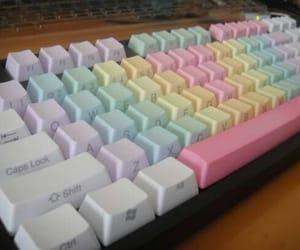 keyboard, pastel, and rainbow image