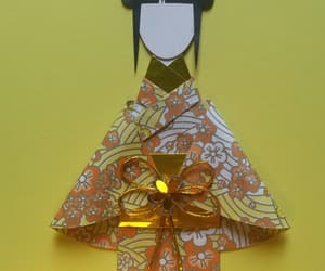 card, origami, and yellow image