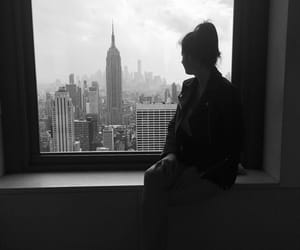 black and white, empire state building, and girl image