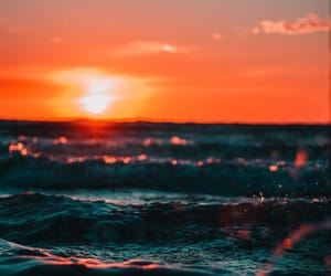 sea, sunset, and ocean image