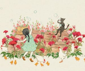 cat, Chicken, and floral image