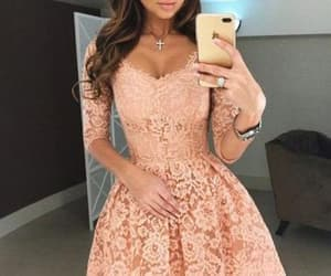 lace, long sleeves dress, and lace homecoming dress image