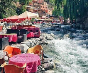 restaurant, river, and marruecos image