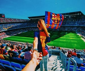 girl, messi, and camp nou image