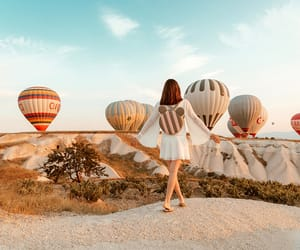 cappadocia, fashion blogger, and hot air balloons image