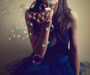 girl, bubbles, and dress image