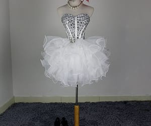 cocktail dress, sweetheart dress, and rhinestone image
