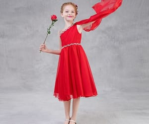 beautiful dress, red dress, and one shoulder dress image