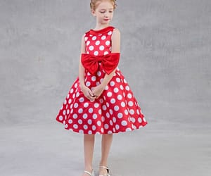 beautiful dress, little girl dress, and red dress image