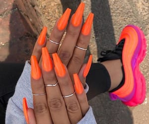 nails, orange, and shoes image