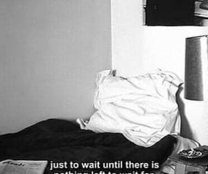wait, bed, and black and white image