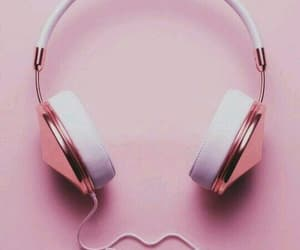 pink, headphones, and music image